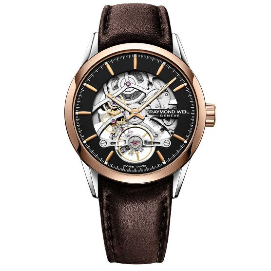 Raymond Weil Freelancer Calibre RW1212 Skeleton Rose PVD Automatic Watch, 42mm