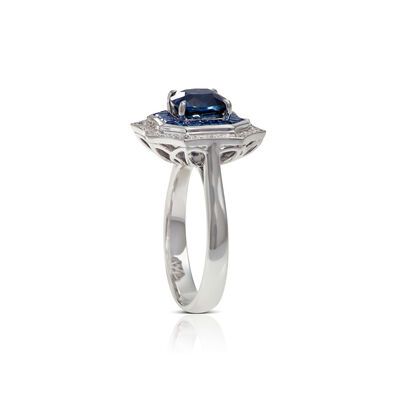 Square & Baguette Sapphire & Diamond Halo Ring 14K