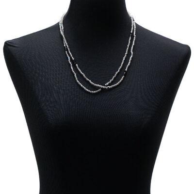 "Lisa Bridge Labradorite & Black Onyx Beaded Necklace, 46"""