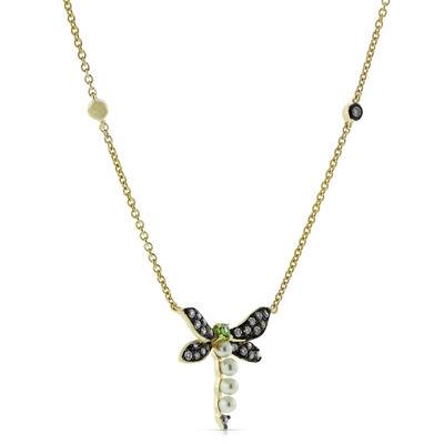 Gemstone Dragonfly Necklace 14K