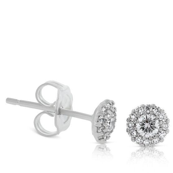 Diamond Halo Cupcake Earrings 1/3ctw, 14K