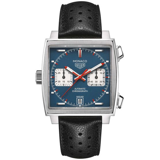 TAG Heuer Monaco Calibre 11 Automatic Mens Blue Leather Chronograph Watch