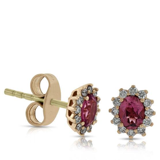 Rose Gold Pink Tourmaline Halo Earrings, 14K