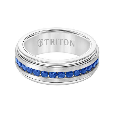 TRITON Stone Comfort Fit Sapphire Band in White Tungsten, 8 mm
