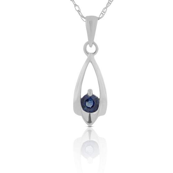 Sapphire Teardrop Pendant Necklace 14K