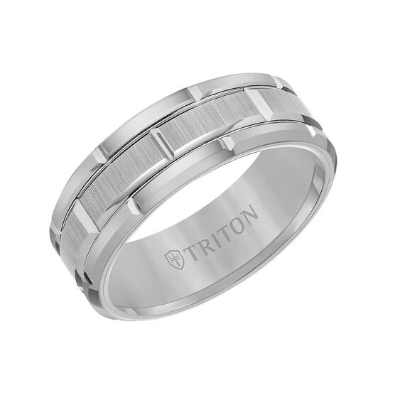TRITON Contemporary Comfort Fit Satin Finish Brick Pattern Band in Grey Tungsten, 8 mm