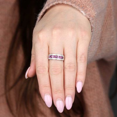 Purple Garnet & Diamond Band 14K