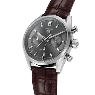 TAG Heuer Carrera Heuer 02 Automatic Mens Silver Leather Chronograph Watch