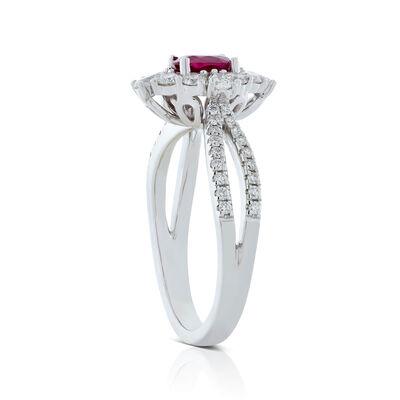 Oval Ruby & Fancy Diamond Halo Ring 18K