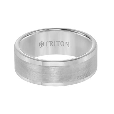 TRITON Contemporary Comfort Fit Satin Finish Band in Grey Tungsten, 8 mm