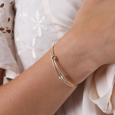 Toscano Double Love Knot Cuff Bangle 14K