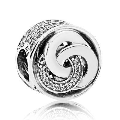 Pandora Interlinked Circles CZ Charm, Silver & 14K