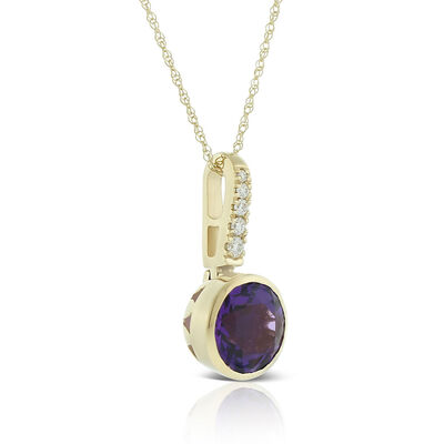 Bezel Set Amethyst & Diamond Necklace 14K