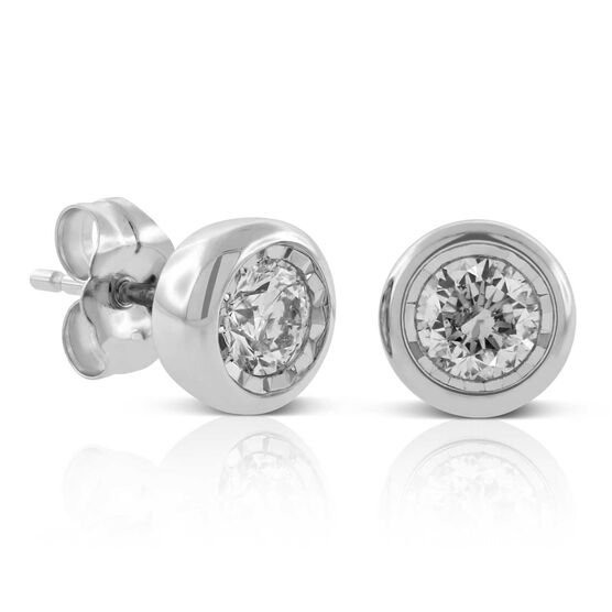 Faceted Bezel Set Diamond Earrings 14K, 1/2 ctw.