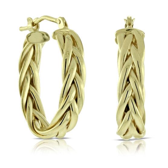 Toscano Braided Hoop Earrings 14K