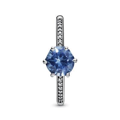 Pandora Wonderland Blue Sparkling Crown Crystal & CZ Ring