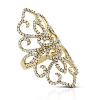 Long Floral Lace Diamond Ring 14K, 1.50 ctw.