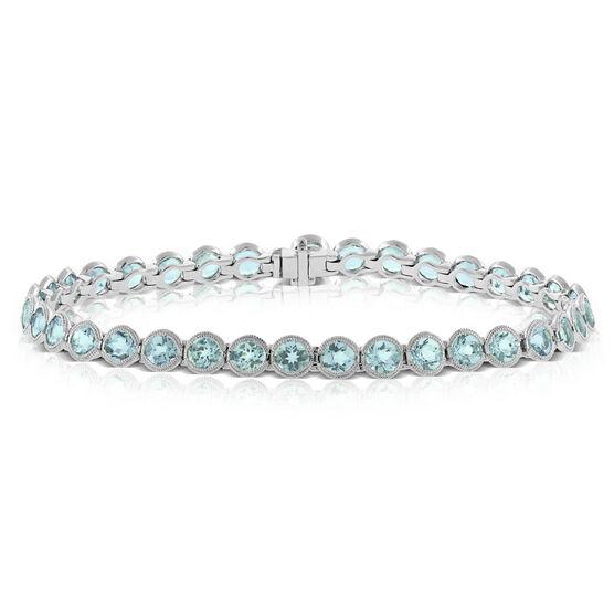 Aquamarine Tennis Bracelet 14K
