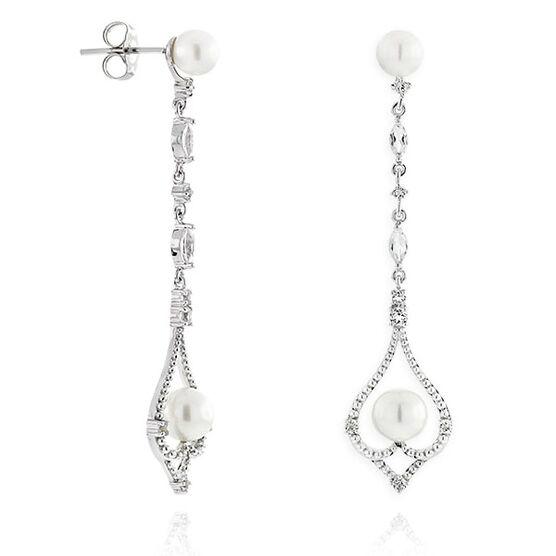 Freshwater Cultured Pearl & White Topaz Earrings 14K