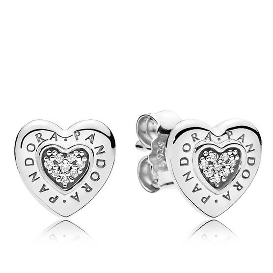 PANDORA Signature Heart CZ Stud Earrings