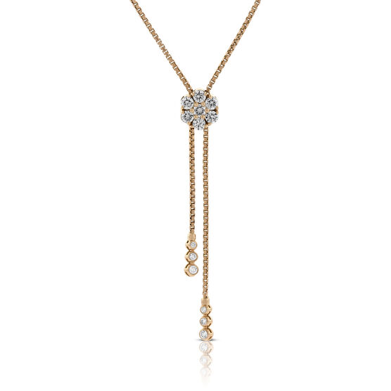 Rose Gold Diamond Cluster Bolo Necklace 14K