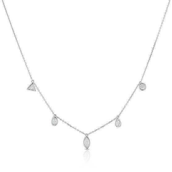 Fancy Shape Diamond Dangle Necklace 14K