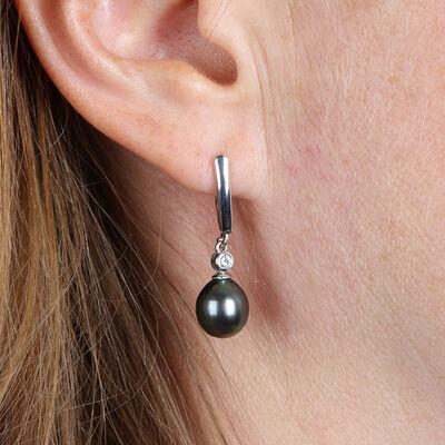 Cultured South Sea Tahitian Pearl & Diamond Earrings 14K