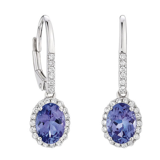 Tanzanite & Diamond Earrings 14K
