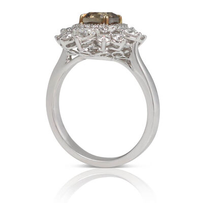 Two-Tone Brown & White Diamond Cluster Ring 18K