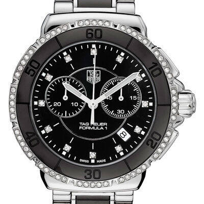 TAG Heuer Formula 1 Quartz Black Ceramic & Diamond Chronograph Watch, 41mm