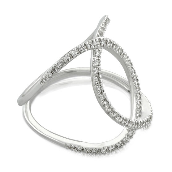Diamond Crossover Ring 14K, Size 7