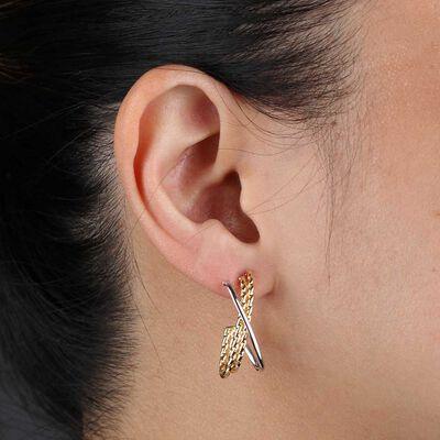 Toscano Crossover Two-Tone Hoop Earrings 14K