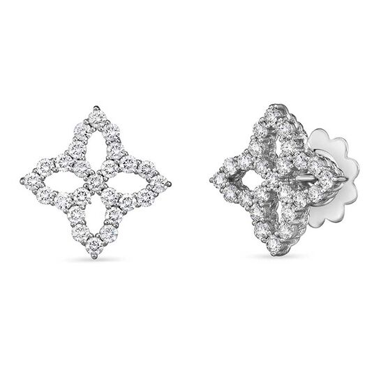 Roberto Coin Princess Flower Diamond Earrings 18K