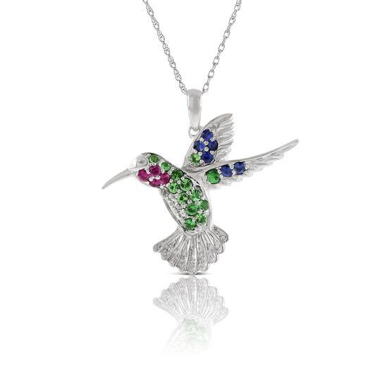 Tsavorite, Sapphire & Ruby Hummingbird Pendant 14K