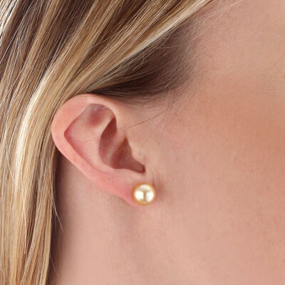 Golden South Sea Cultured Pearl Stud Earrings 9mm, 18K