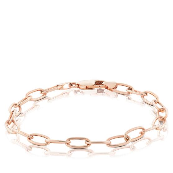 """Rose Gold Toscano Oval Paperclip Chain Bracelet 14K, 7.5"""""""