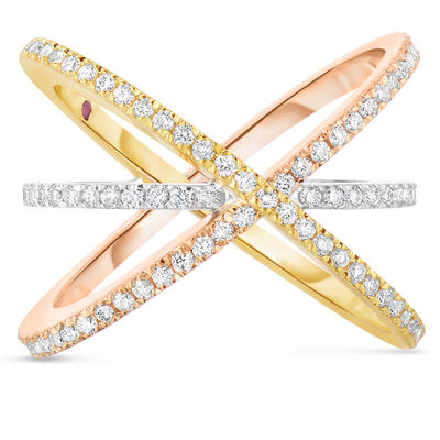 Roberto Coin Classic Diamond Tri-tone Criss Cross Ring 18K