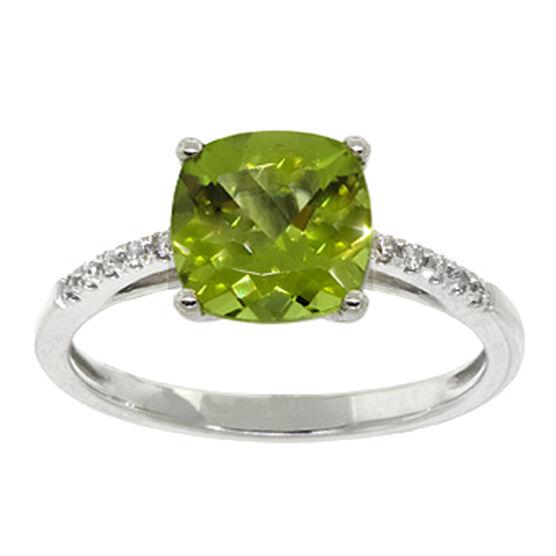 Peridot & Diamond Ring 14K
