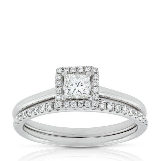 Princess Cut Diamond Halo Bridal Set 14K