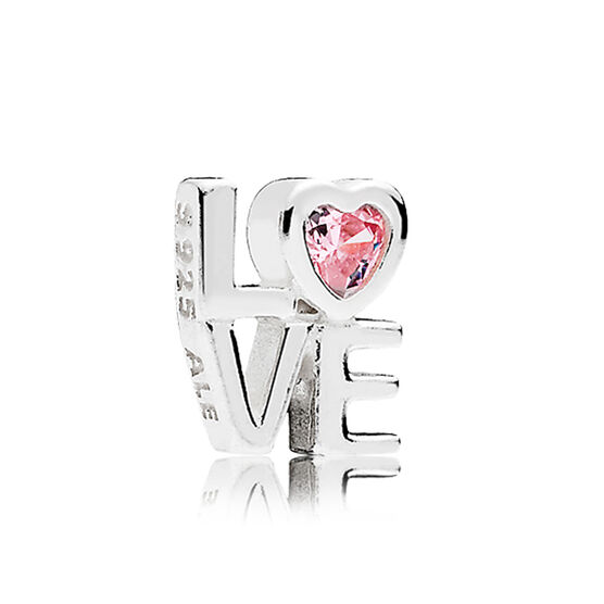 PANDORA Petite Locket Pink CZ LOVE Charm