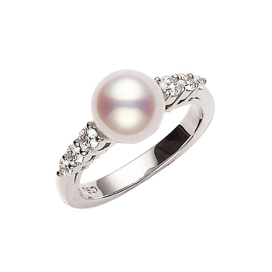 Mikimoto Morning Dew Akoya Cultured Pearl & Diamond Ring 18K