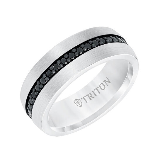 TRITON Stone Comfort Fit Black Sapphire Eternity Band in White Tungsten, 8 mm