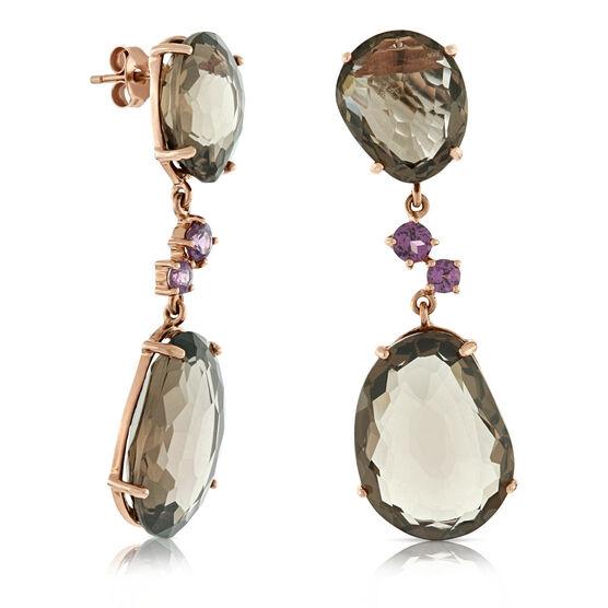 Rose Gold Quartz & Rhodolite Earrings 14K
