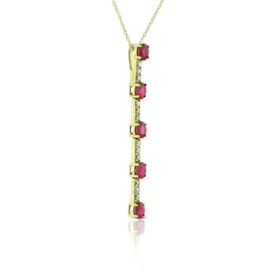 Oval Ruby & Diamond Necklace 14K