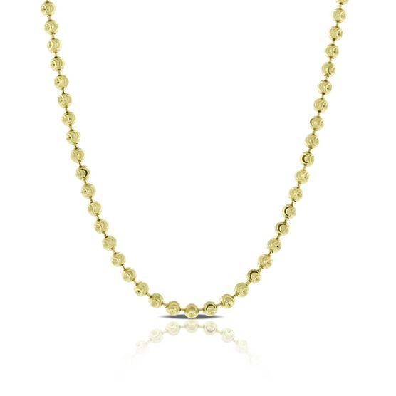 "Moon Cut Bead Necklace 14K, 18"""
