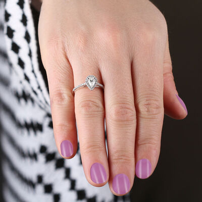 Pear Shape Diamond Halo Engagement Ring 14K