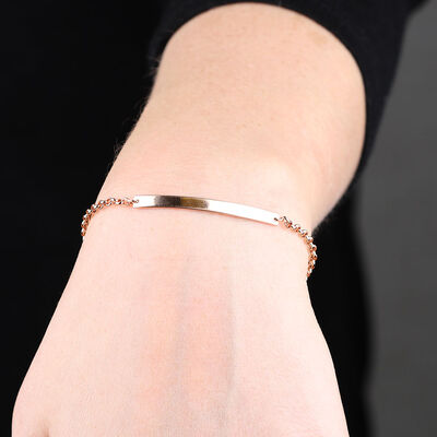 Rose Gold Engravable Bar Bracelet 14K