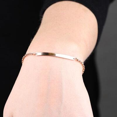 Rose Gold Engravable Bar Bracelet 14K