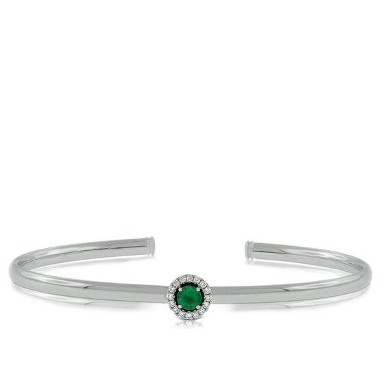 Emerald & Diamond Cuff Bracelet 14K