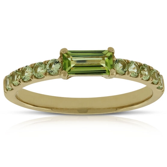 Peridot Baguette Ring 14K, Size 7